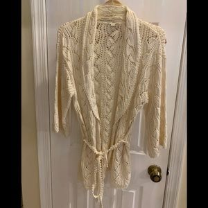 Ivory cotton knit /4 sleeves cardigan (Pristine)